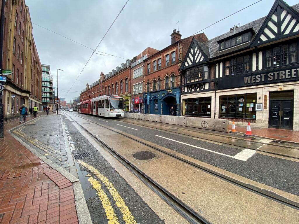 Barriers installed by Hardstaff Barriers on West Street, in Sheffield